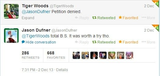 Jason Dufner replies to Tiger Woods denied comment on twitter- World Challenge..